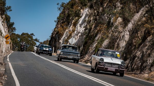 Entrants driving through the Adelaide Hills